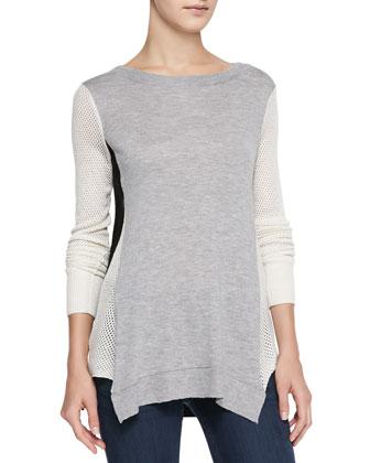 Colorblock Slub/Perforated Combo Sweater