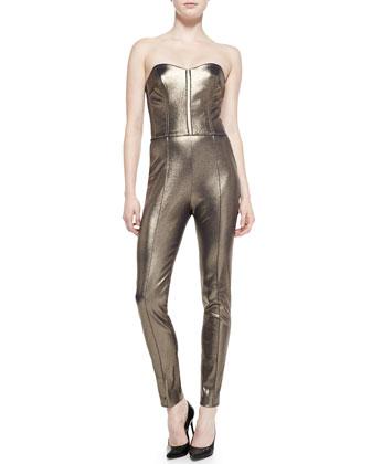 Gold Foil Bustier Jumpsuit