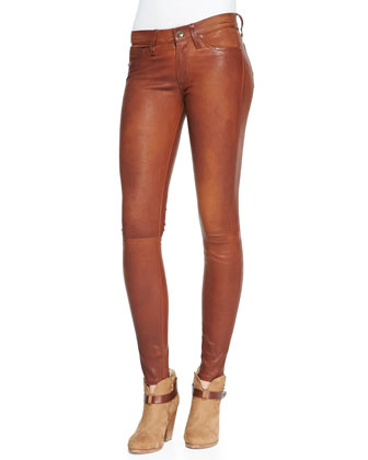 The Leather Skinny Pants, Washed Cognac