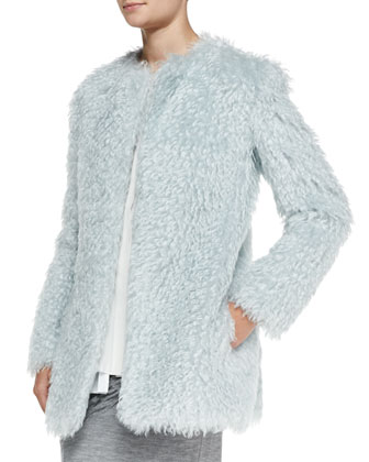 Long-Sleeve Pastel Mohair Coat