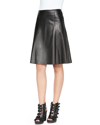 Seamed A-Line Leather Skirt