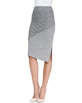 Ruched/Smooth Slub Pencil Skirt