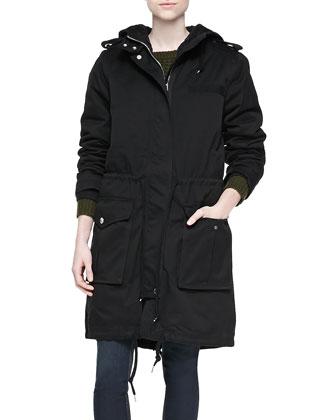 Classic Cotton Hooded Coat, Black