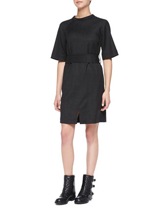 Junko Lightweight Wool Belted Dress