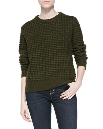 Walley Waffle-Knit Sweater, New Olive Green