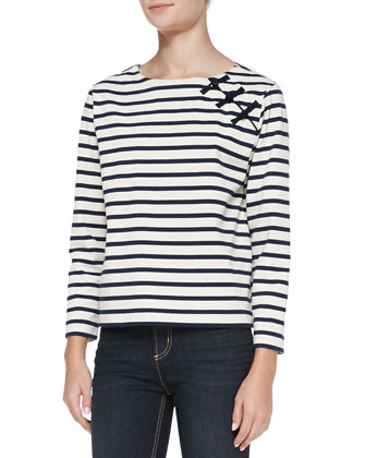 Jacquelyn Striped Round-Neck Top