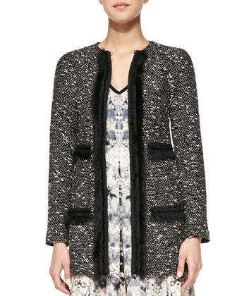 Incognito Fur-Trim Tweed Coat