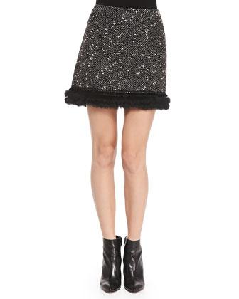 Undercover Fur-Trim Tweed Skirt