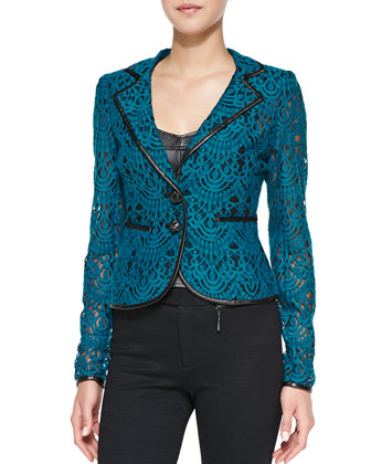 I Spy Leather-Trim Lace Jacket, Cyan