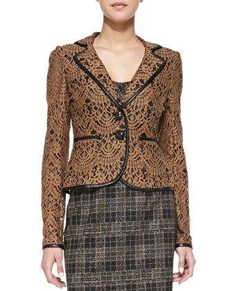 I Spy Leather-Trim Lace Jacket, Camel