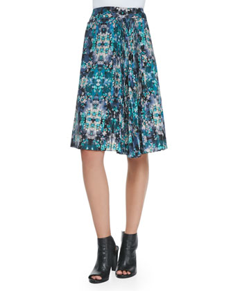 Foul Play Pleated Floral-Print Skirt