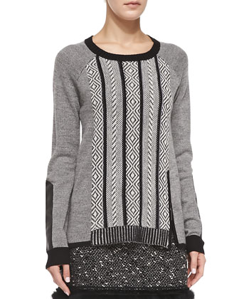 Leather-Elbow Interwoven Pullover