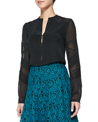 Trail Me Patchwork Silk Blouse, Black