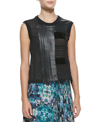 Getaway Leather/Patchwork Sleeveless Top