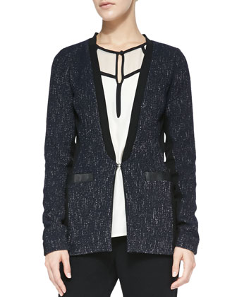 Scandal Leather-Trim Tweed Jacket