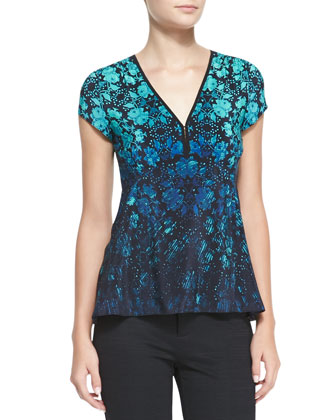 Motive Floral-Print Silk Top
