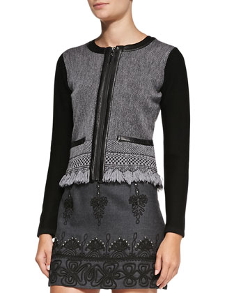 Intrigue Leather-Trim Tweed Jacket
