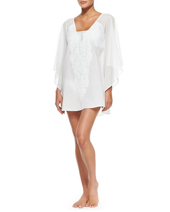 Embroidered-Front Voile Caftan Coverup
