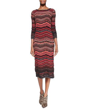 Fancy Ripple-Knit Mid-Calf Dress