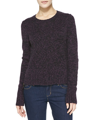 Elbow-Patch Tweedy Cashmere Sweater