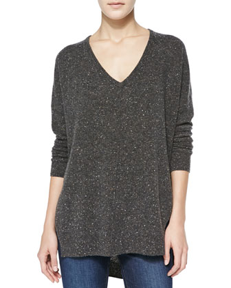Speckled High-Low Cashmere Sweater