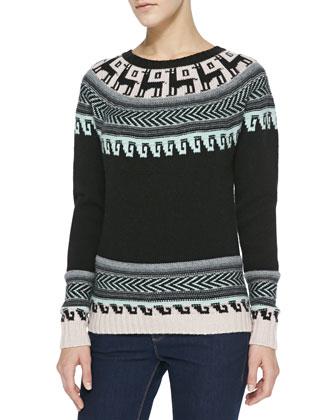 Folkloric Intarsia Cashmere Sweater