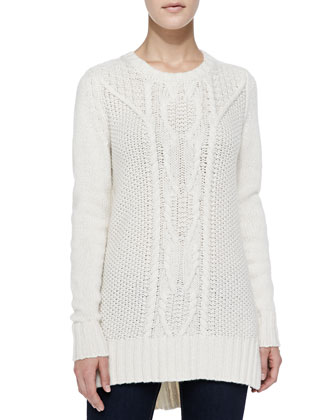 Chunky/Cable Cashmere High-Low Sweater