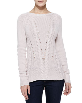 High-Low Mixed-Knit Cashmere Sweater