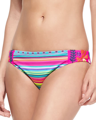 Flora Fiesta Striped Embroidered Swim Bottom