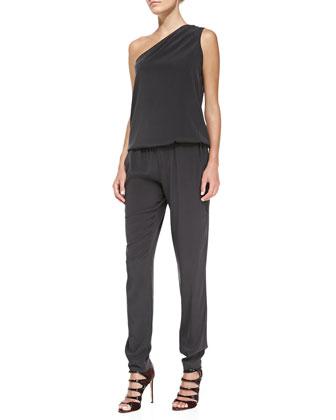 Lulu Blouson-Top Stretch-Silk Jumpsuit