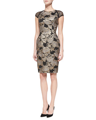 Cap-Sleeve Beaded Brocade Cocktail Dress