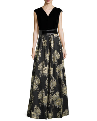 Sleeveless Belted Brocade-Skirt Gown