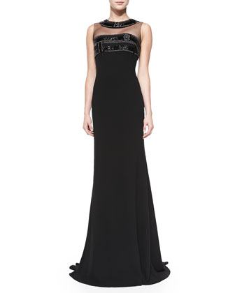 Sleeveless Illusion-Neck Gown