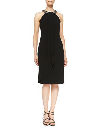 Beaded Halter-Neck Cocktail Dress