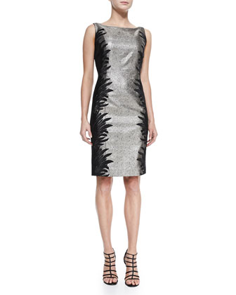 Sleeveless Two-Tone Cocktail Dress, Women's
