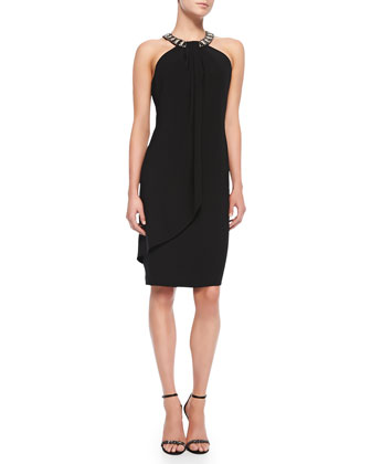 Beaded Halter Cocktail Dress, Women's