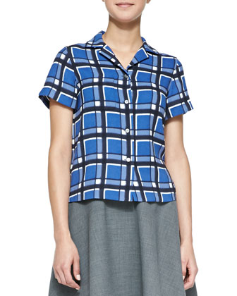 Toto Plaid Crepe Button-Down Blouse