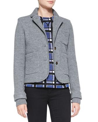 Skylar Knit-Trim Sweater Jacket