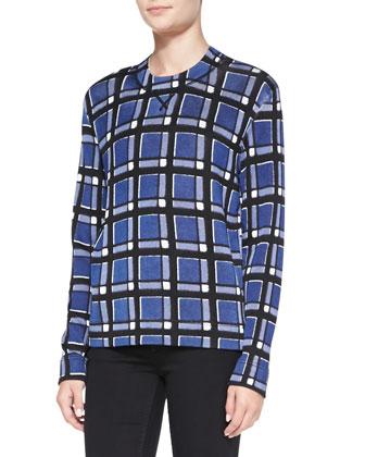 Toto Plaid Crepe Sweater