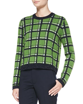 Prudence Rib-Trim Metallic Plaid Sweater