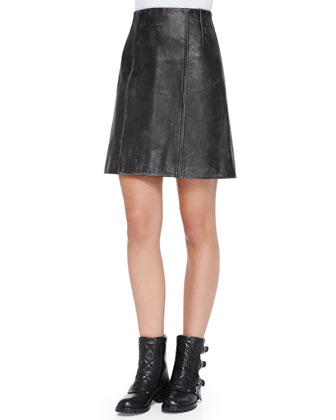 Leather A-Line Biker Skirt