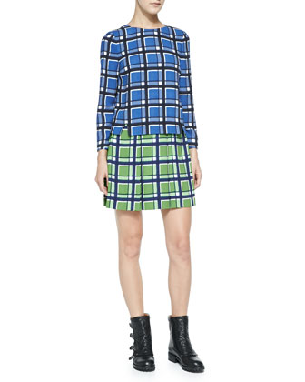 Toto Long-Sleeve Two-Tone Plaid Crepe Dress
