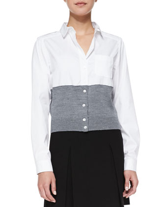 Miki Oxford/Knit Combo Blouse