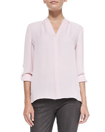 Anabella Long-Sleeve Silk Blouse