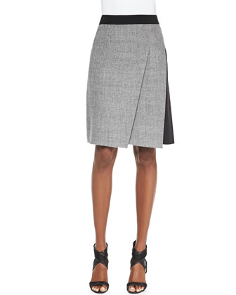 Larissa Diagonal-Pleat Combo Skirt