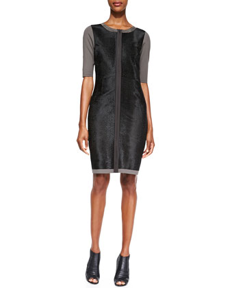 Coralie Elbow-Sleeve Leather-Front Dress