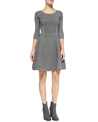 Textured Fit & Flare Knit Dress