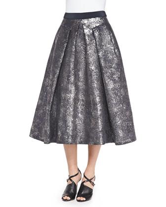 Pleated Foil Matelass?? Skirt