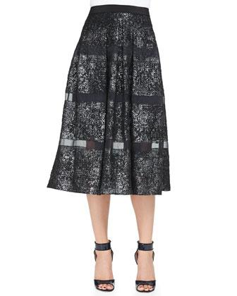 Foiled/Sheer-Stripe A-Line Midi Skirt