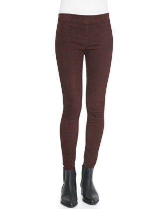 Suede Flat-Front Leggings, Shiraz